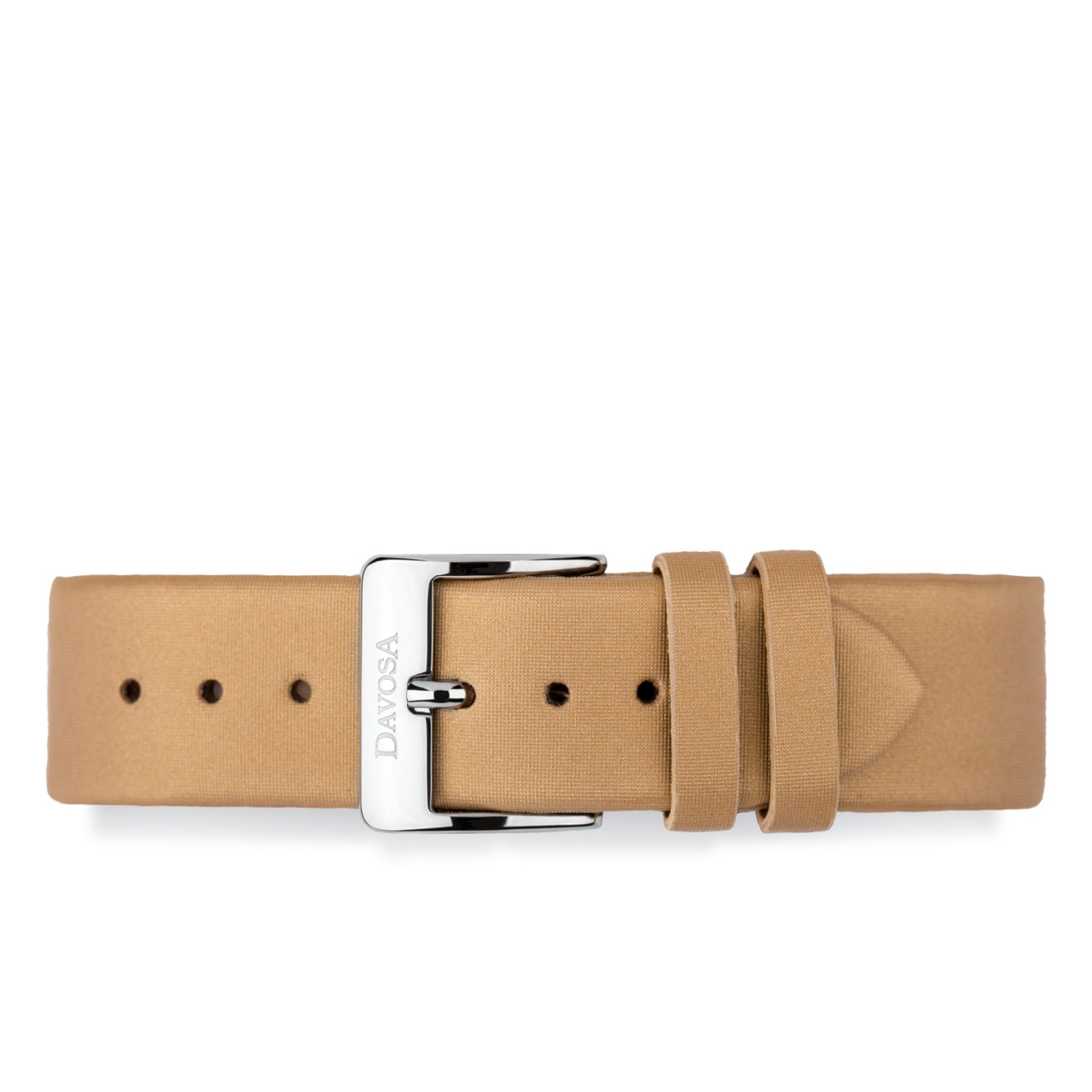 Calfskin leather with gold colored satin covering